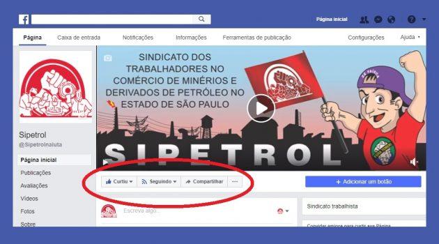 Curta, Siga e Compartilhe a página do Sipetrol no Facebook